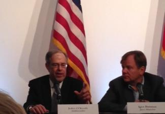 Executive Director John O'Keefe (left) and Igor Butman at a press conference before the tribute to jazz diplomacy event.