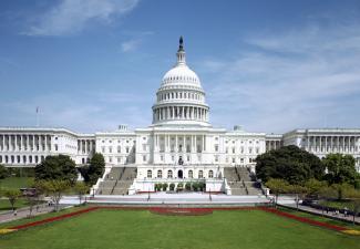 Exterior photo of U.S. Capitol.